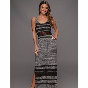 Free People Maxi Dress Grey/ Black Lace Size: S